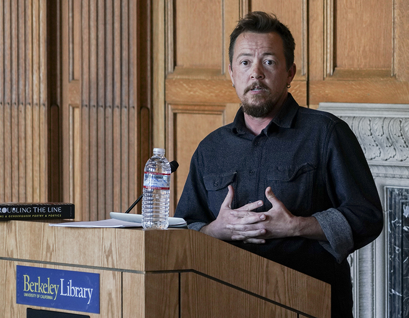 Poet TC Tolbert reads in Morrison Library on Feb. 1, 2018, as part of the admission-free Lunch Poems series. (Photo by Cade Johnson for the University Library)