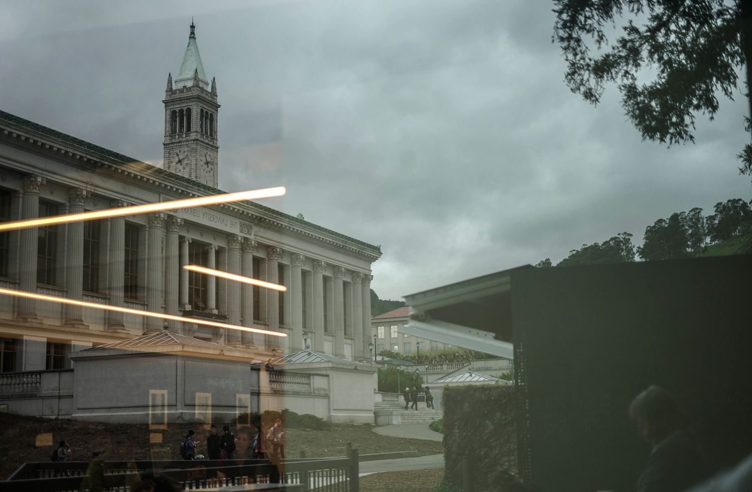Doe Library reflected