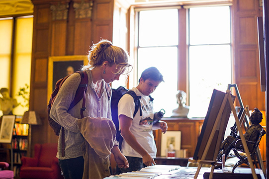 Students peruse art in Morrison