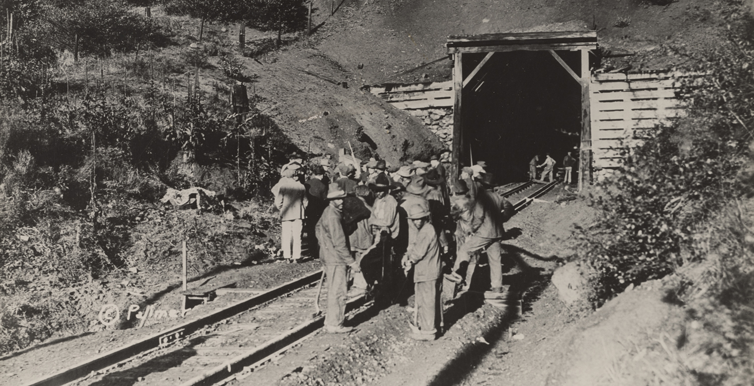 Workers at the scene of a train robbery