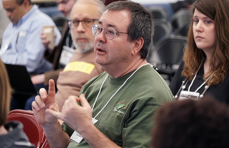 Jon Stiles speaks from the audience during the HathiTrust Research Center (HTRC) UnCamp 2018 on Thursday, Jan. 25, 2018. (Photo by Jami Smith for the University Library)