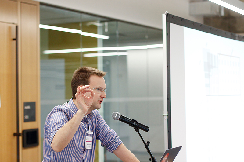 David Mimno of Cornell University gives the keynote presentation on Friday, Jan. 26, 2018, at the HathiTrust Research Center (HTRC) UnCamp 2018 in Moffitt Library. (Photo by Cade Johnson for the University Library)