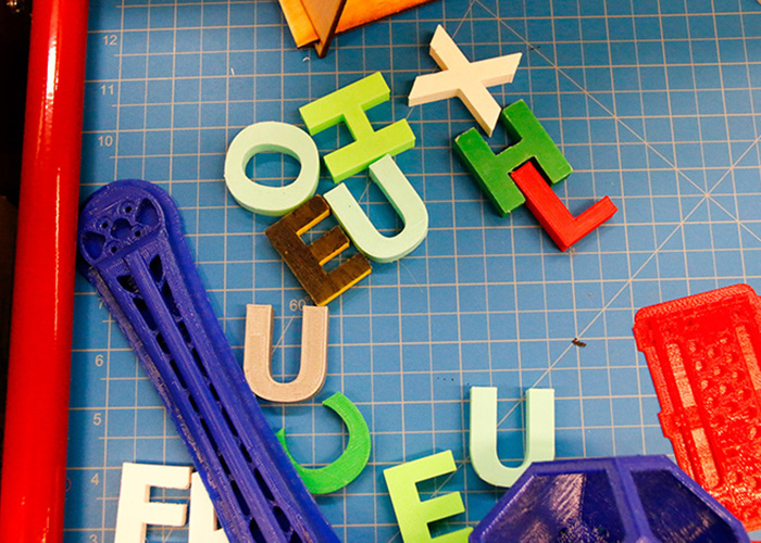 3D-printed letters in Makerspace