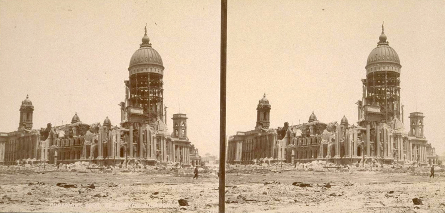 San Francisco City Hall in 1906 after the earthquake