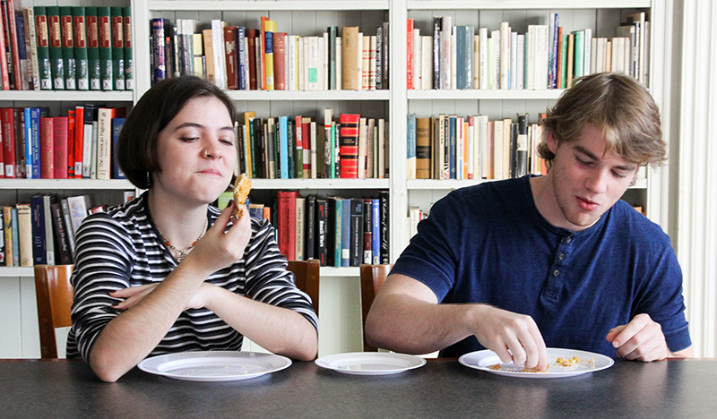 Students Lena Gavenas, left, and Trevor Hazen were among the brave tasters who tried pie made from old recipes found in the UC Berkeley Library's collections.