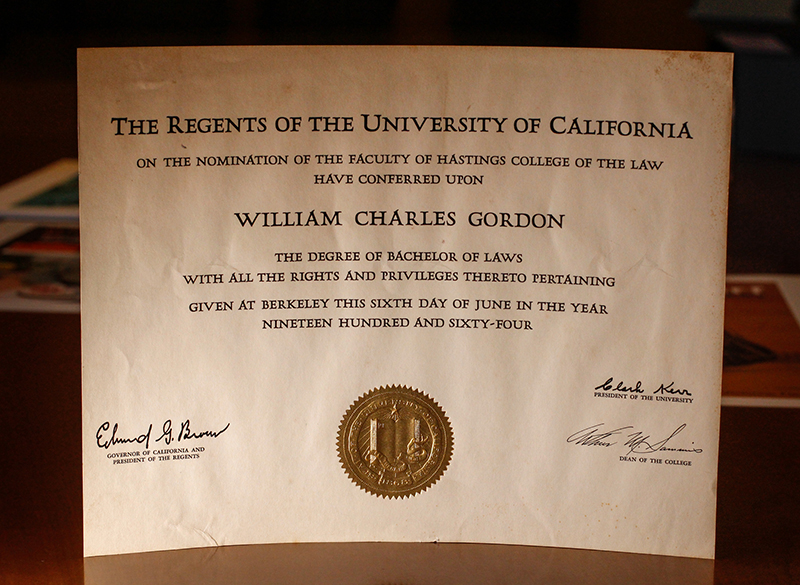 Gordon's diploma from UC Hastings College of the Law is part of Bancroft's collection. (Photo by Jami Smith for the University Library)