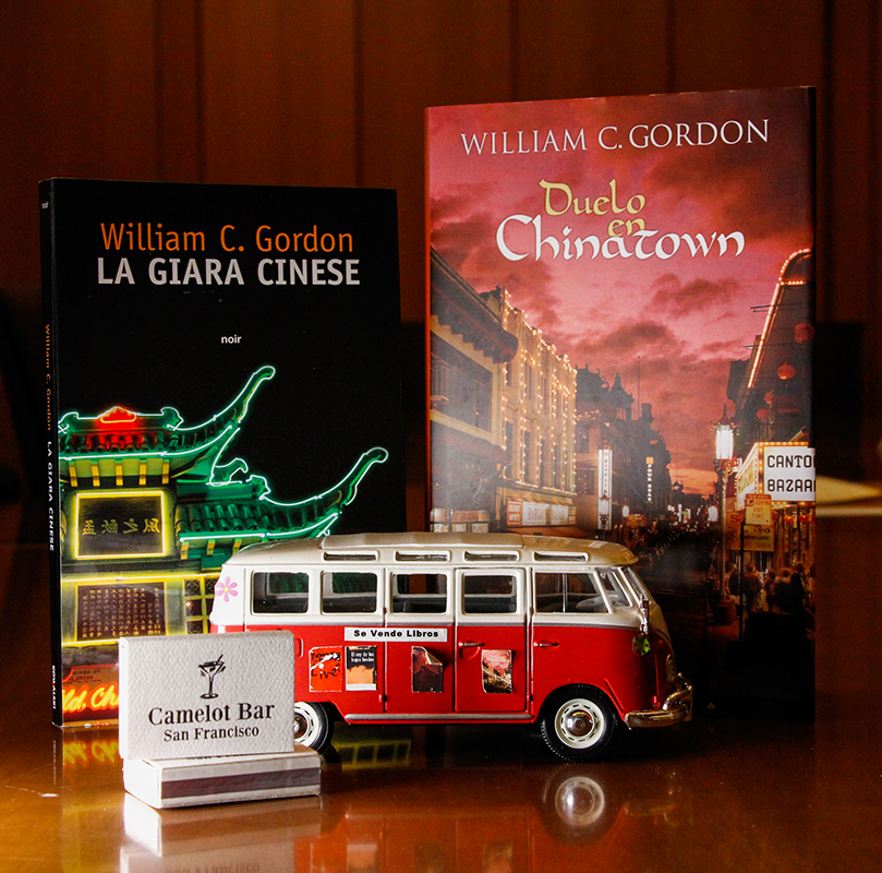 Items from Gordon's collection in The Bancroft Library include a miniature Volkwagen bus, matchboxes, and copies of his books. (Photo by Jami Smith for the University Library)