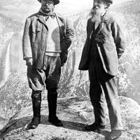 After Theodore Roosevelt's visit to UC Berkeley, he toured Yosemite. Here he is seen at Glacier Point with naturalist John Muir.