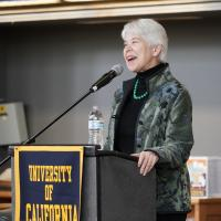 Chancellor Carol Christ talks at the Luncheon in the Library in January. (Photo by Jami Smith for the UC Berkeley Library)