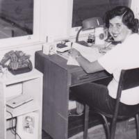 Donor Betty Pacheco sits at her desk in the dorms during the 1950s at UC Berkeley. Pacheco has included the Library in her bequest plans. (Photo courtesy of Betty Pacheco)