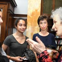 Author Margaret Atwood talks to lecture attendees
