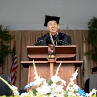David Lei speaks at the 2019 UC Berkeley commencement ceremony.