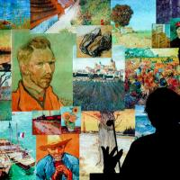 A speaker is silhouetted in front of images by van Gogh